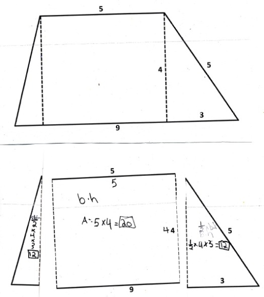 trapezoid area cut outs two triangles