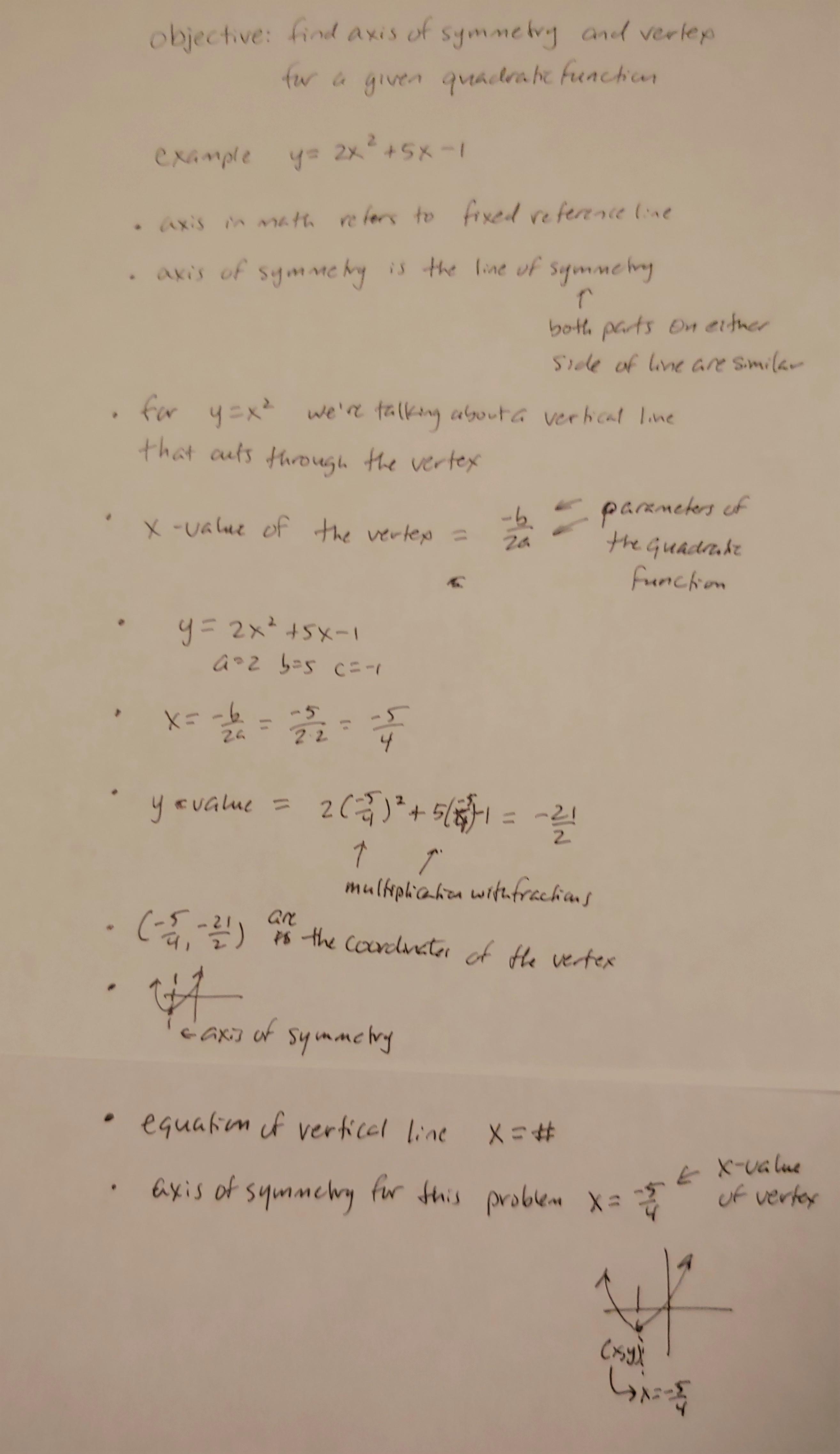 axis of symmetry problem broken down
