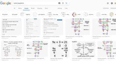 google search solve equations
