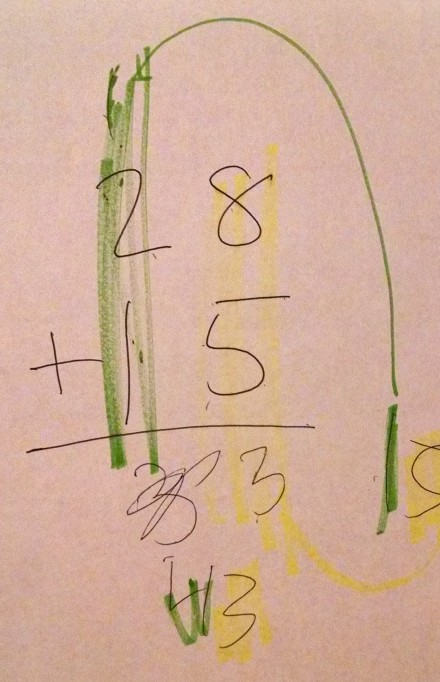 adding 2 digit numbers with carrying with color no scaffold