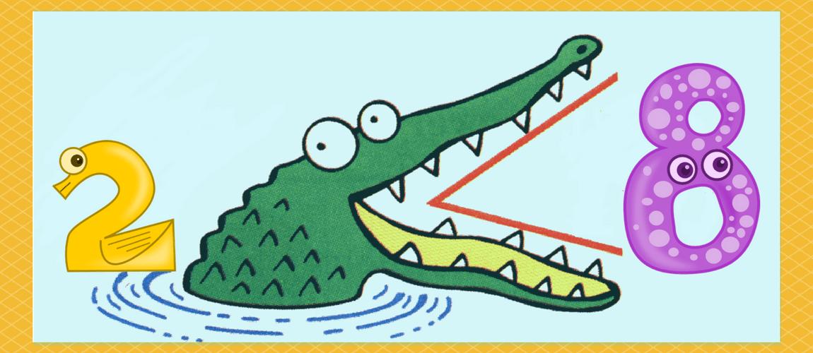 alligator eats bigger number