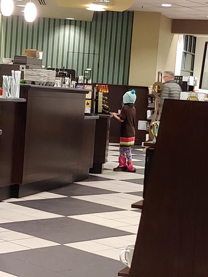 Luisa at counter at BN